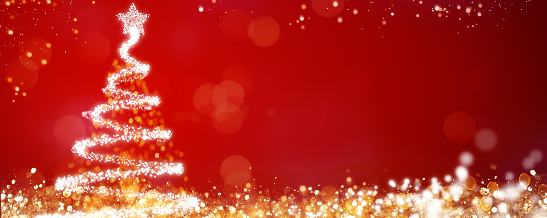 Golden and silver lights with Christmas tree on red background.